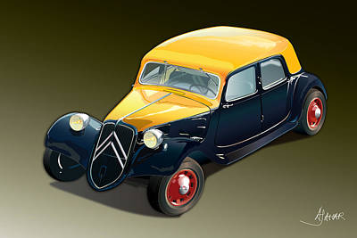 Automotive.digital Digital Art - Citroen Traction Avant by Alain Jamar