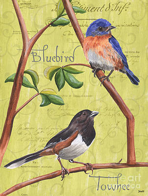 Bluebird Painting - Citron Songbirds 1 by Debbie DeWitt