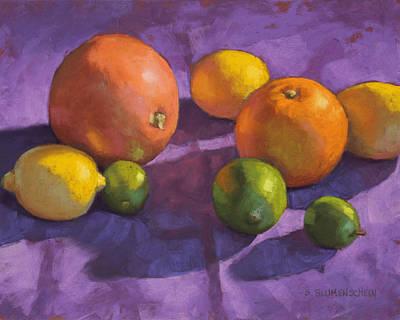 Citrus On Purple Print by Sarah Blumenschein