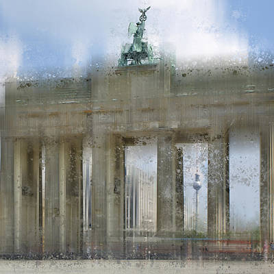 City-art Berlin Brandenburg Gate Print by Melanie Viola