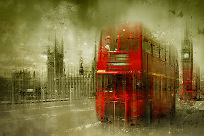 City-art London Red Buses Print by Melanie Viola