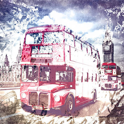 City-art London Red Buses On Westminster Bridge Print by Melanie Viola
