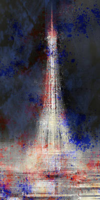 Mars Digital Art - City-art Paris Eiffel Tower In National Colours by Melanie Viola
