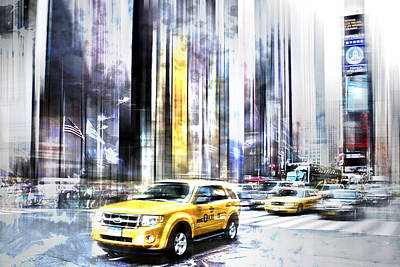 Times Square Digital Art - City-art Times Square II by Melanie Viola