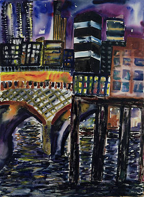 City At Night Painting - City At Night by Hilary Rosen