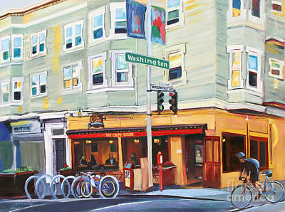 Cyclist Painting - City Bike At Polk And Washington by Colleen Proppe