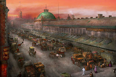 City - Boston Mass - Morning At The Farmers Market - 1904 Print by Mike Savad