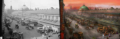 City - Boston Mass - Morning At The Farmers Market - 1904 - Side By Side Print by Mike Savad