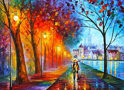 Park Oil Painting - City By The Lake by Leonid Afremov