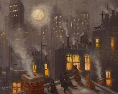 City At Night Painting - City Cats by Tom Shropshire