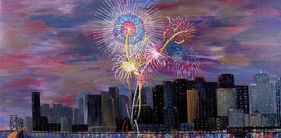 Wet Painting - City Celebration San Francisco Bay by Mark Moore