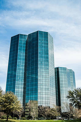Clouds Photograph - City Center Towers In Dallas by Parker Cunningham