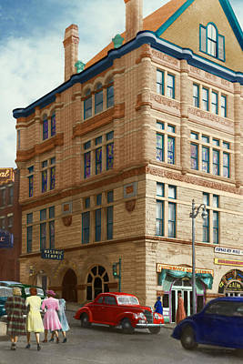 City - Chattanooga Tn - 1943 - The Masonic Temple Print by Mike Savad