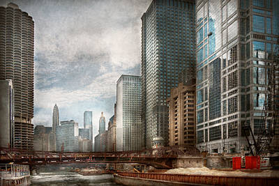 Clark Street Photograph - City - Chicago Il -  Building A New City by Mike Savad