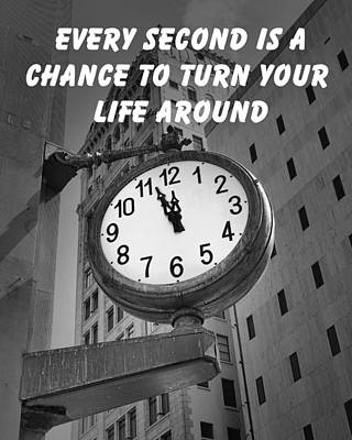City Clock Quote-2 Print by Rudy Umans