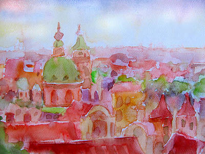 Czech Republic Painting - City Dawn by James Huntley