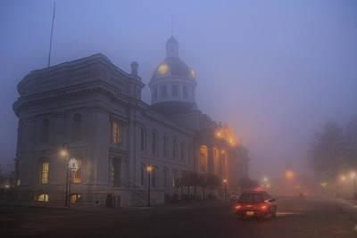 City Hall In Fog Print by Jim Vance