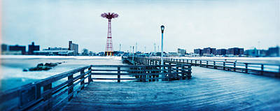 City In Winter, Coney Island, Brooklyn Print by Panoramic Images