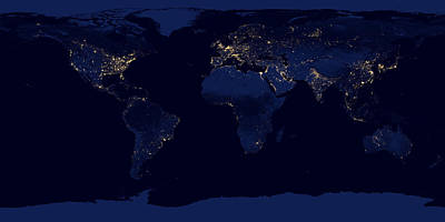 City Lights - Earth Print by World Art Prints And Designs