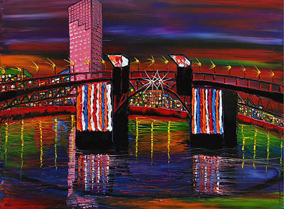 City Lights Over Morrison Bridge 8 Print by Portland Art Creations