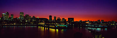 Montreal Cityscapes Photograph - City Lit Up At Dusk, Montreal, Quebec by Panoramic Images