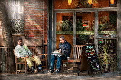 Window Bench Photograph - City - New York - Greenwich Village - The Path Cafe  by Mike Savad