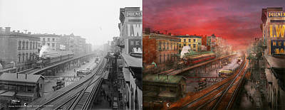 City - Ny - Rush Hour Traffic - 1900 - Side By Side Print by Mike Savad