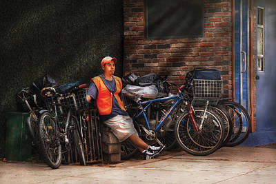 City - Ny - Waiting For The Next Delivery Print by Mike Savad