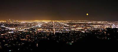 Moon Photograph - City Of Angels Los Angeles At Night by Sindi June Short