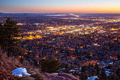 Scenic Views Photograph - City Of Boulder Colorado Downtown Scenic Sunrise View   by James BO  Insogna