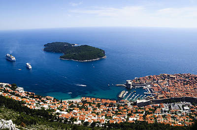 Dubrovnik Photograph - City Of Dubrovnik And Lokrum Island Croatia by Oscar Gutierrez