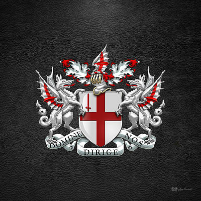 City Of London - Coat Of Arms Over Black Leather  Original by Serge Averbukh