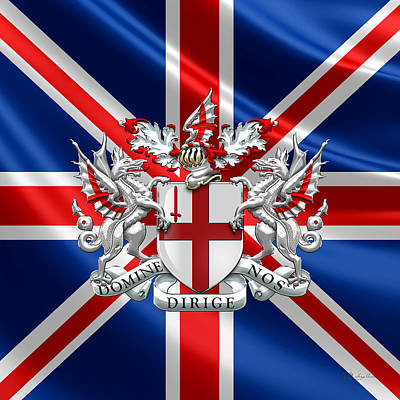 City Of London - Coat Of Arms Over Uk Flag  Original by Serge Averbukh