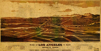 City Streets Mixed Media - City Of Los Angeles California Vintage Birds Eye View City Street Map 1877 by Design Turnpike