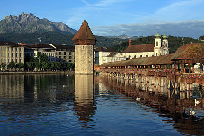 City Of Lucerne In Switzerland Print by Ron Sumners