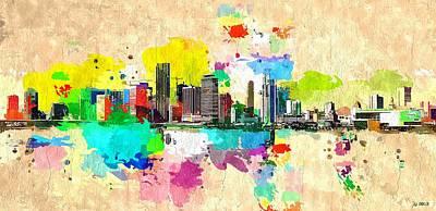Miami Skyline Painting - City Of Miami Grunge by Daniel Janda