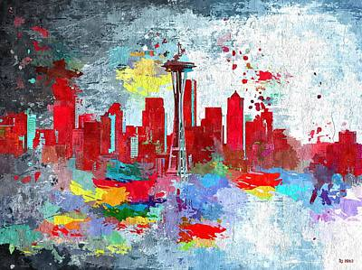 Seattle Skyline Painting - City Of Seattle Grunge by Daniel Janda
