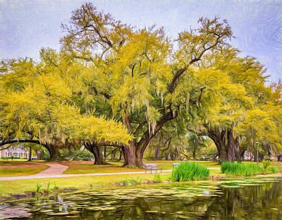 Oak Photograph - City Park Giants - Paint by Steve Harrington