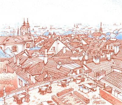 Praha Drawing - City. Prague by Olga Sorokina