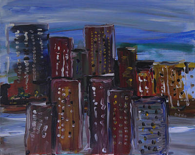 City-scapes In Blues Original by Pamela Cooper