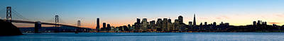 City Skyline And A Bridge At Dusk, Bay Print by Panoramic Images