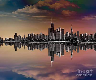 Nyc Digital Art - City Skyline Dusk by Bedros Awak