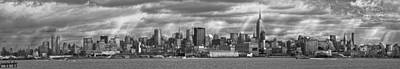 White River Scene Photograph - City - Skyline - Hoboken Nj - The Ever Changing Skyline - Bw by Mike Savad