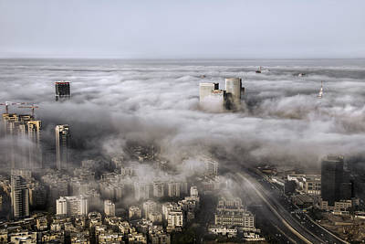 City Skyscrapers Above The Clouds Print by Ron Shoshani