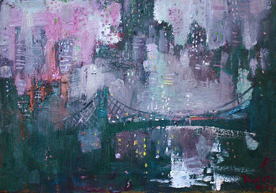 Brooklyn Bridge Painting - City That Never Sleeps by Ylli Haruni