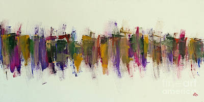 Abstract Expressionism Painting - City V Love Towers by Greg Mason Burns