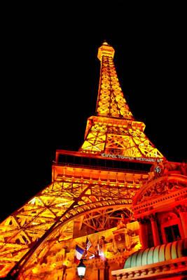 Suburban Digital Art - City - Vegas - Paris - Eiffel Tower Restaurant by Mike Savad