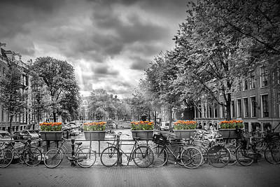 Waterside Photograph - Cityscape Amsterdam by Melanie Viola