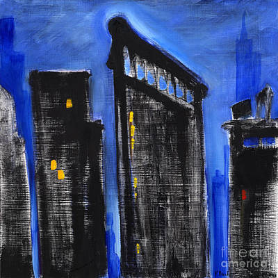 Empire State Building Painting - Cityscape Blue by Paul Brent
