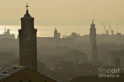 Cityscape Of Venice And Cranes Silhouettes Print by Sami Sarkis